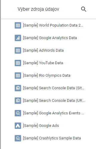 data studio - zdroje dat